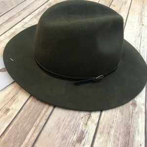 435bc2237a0 Topshop Accessories -  TOPSHOP  Classic Fedora 100% Wool Olive Green Hat